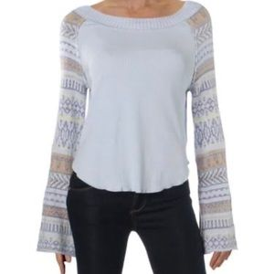 FP Fairground Striped-Sleeve Thermal Sweater  NWT